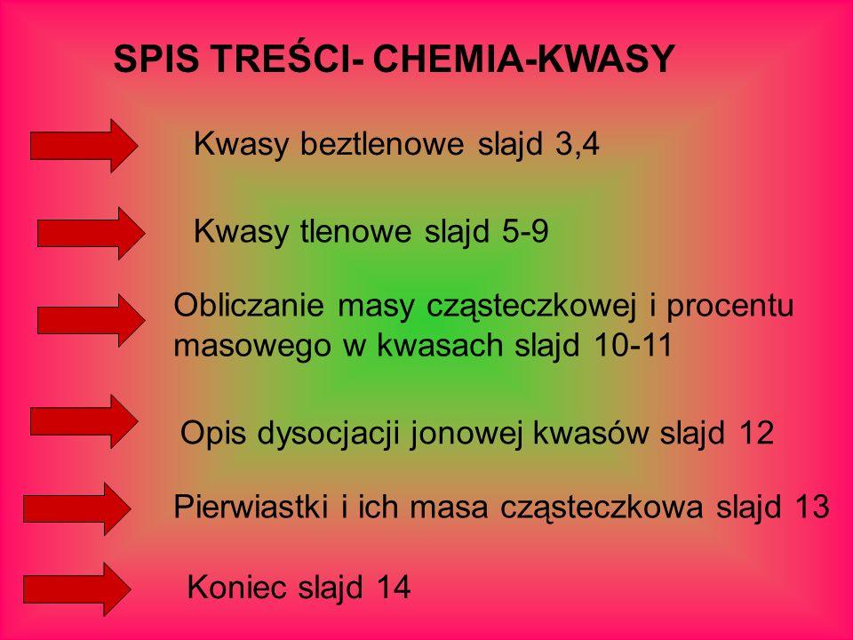 SPIS TREŚCI- CHEMIA-KWASY Pierwiastki i ich masa cząsteczkowa slajd 13 Kwasy beztlenowe slajd 3,4 Kwasy tlenowe slajd 5-9 Obliczanie masy cząsteczkowe