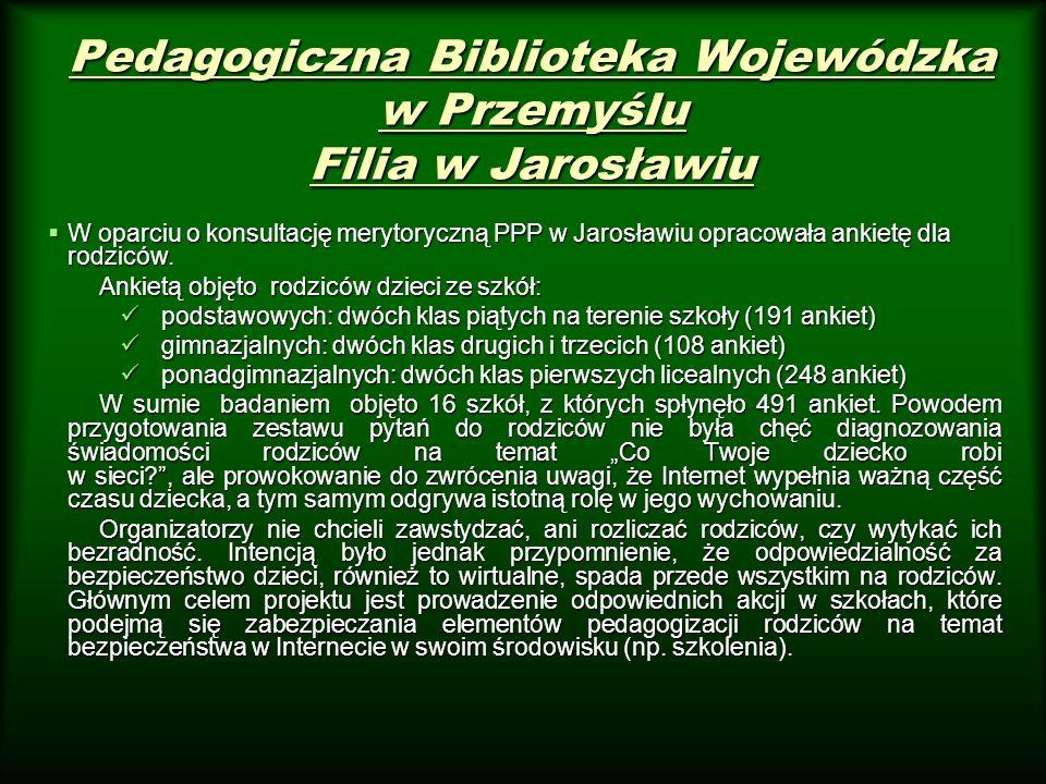 Pedagogiczna Biblioteka Wojewódzka w Przemyślu Filia w Jarosławiu W oparciu o konsultację merytoryczną PPP w Jarosławiu opracowała ankietę dla rodzicó
