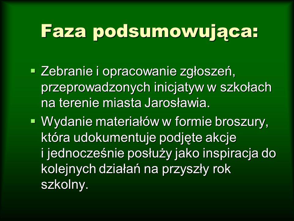 Faza podsumowująca: Zebranie i opracowanie zgłoszeń, przeprowadzonych inicjatyw w szkołach na terenie miasta Jarosławia. Zebranie i opracowanie zgłosz