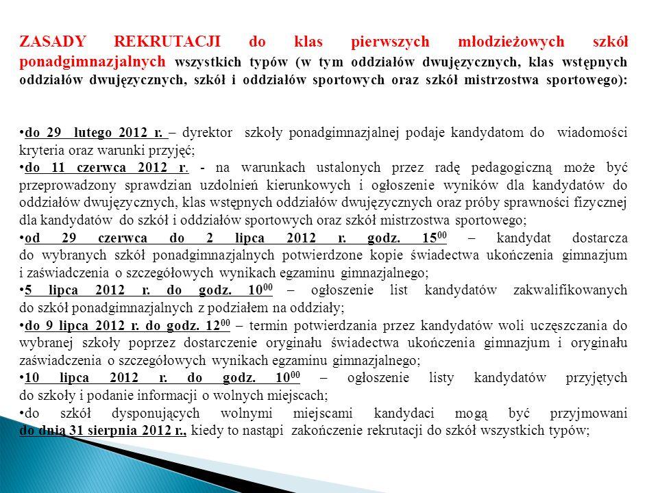 ZASADY REKRUTACJI do klas pierwszych młodzieżowych szkół ponadgimnazjalnych wszystkich typów (w tym oddziałów dwujęzycznych, klas wstępnych oddziałów