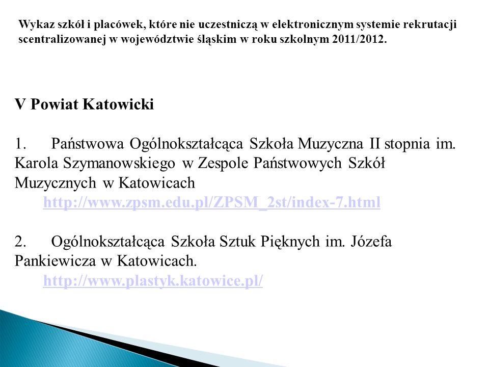 Wykaz szkół i placówek, które nie uczestniczą w elektronicznym systemie rekrutacji scentralizowanej w województwie śląskim w roku szkolnym 2011/2012.