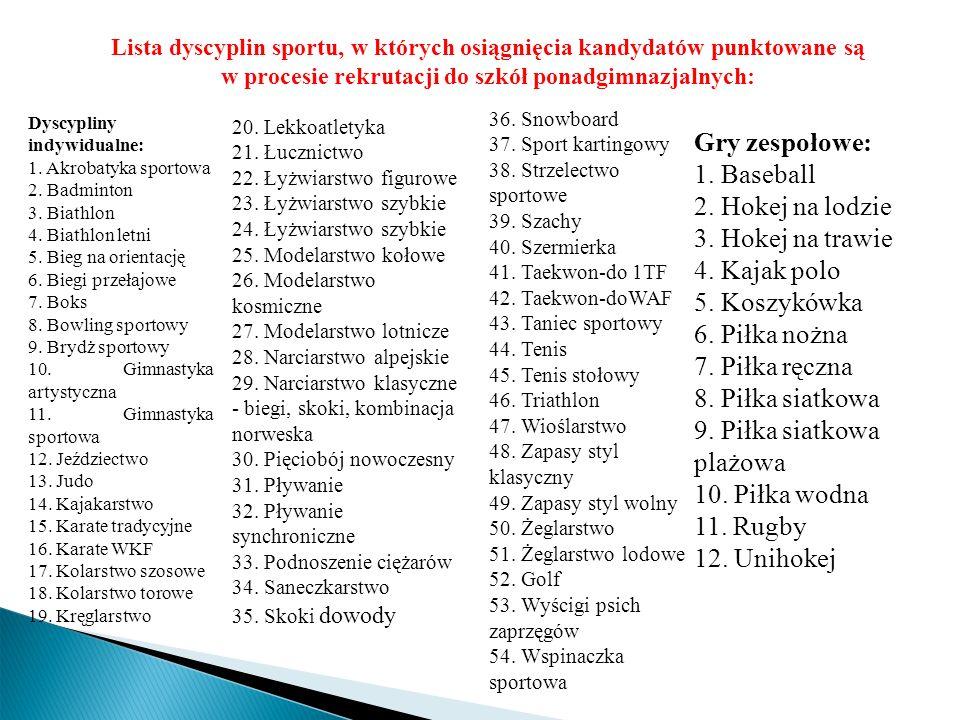 Lista dyscyplin sportu, w których osiągnięcia kandydatów punktowane są w procesie rekrutacji do szkół ponadgimnazjalnych: Dyscypliny indywidualne: 1.