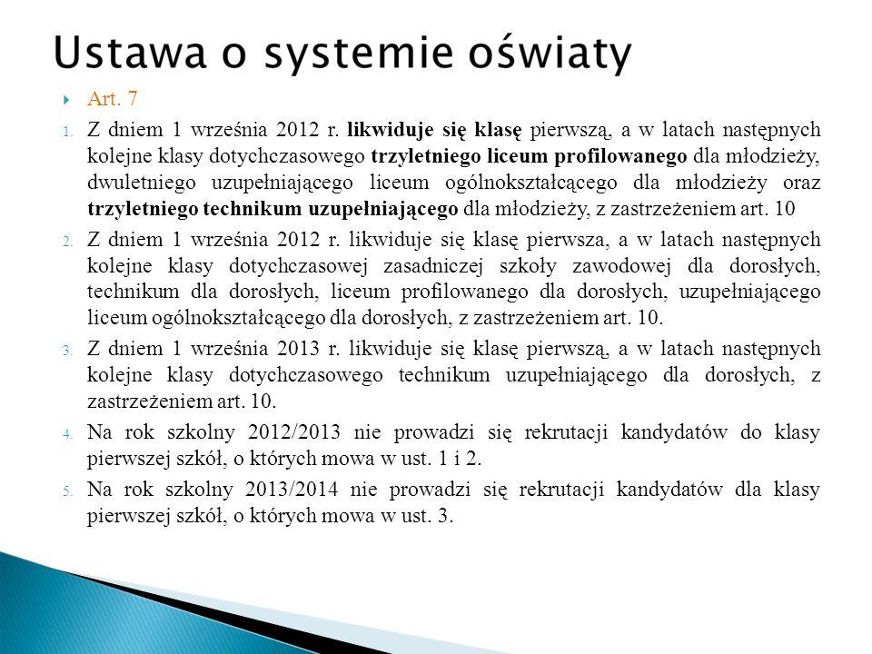Art. 7 1. Z dniem 1 września 2012 r. likwiduje się klasę pierwszą, a w latach następnych kolejne klasy dotychczasowego trzyletniego liceum profilowane