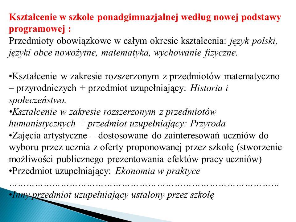 Kształcenie w szkole ponadgimnazjalnej według nowej podstawy programowej : Przedmioty obowiązkowe w całym okresie kształcenia: język polski, języki ob