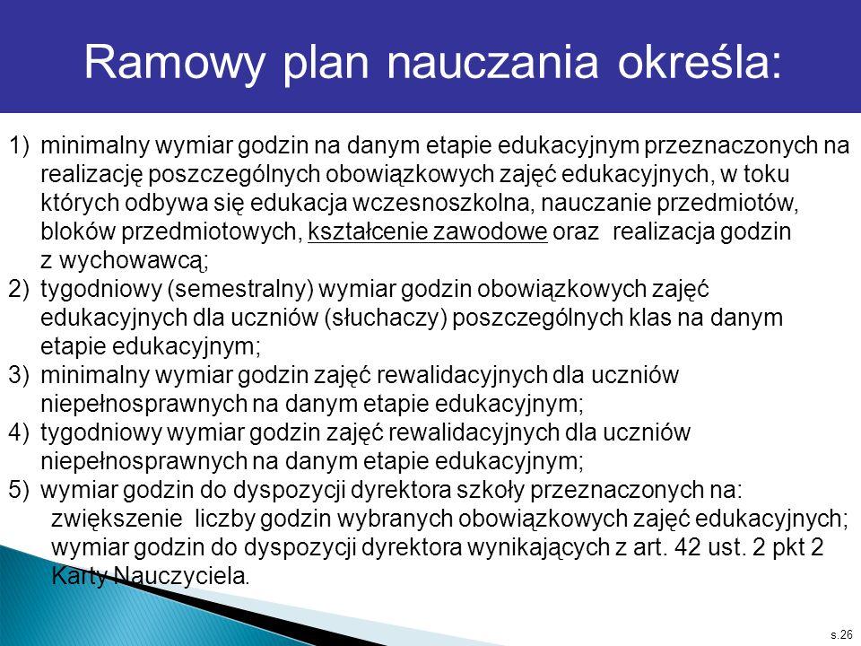 s.26 1)minimalny wymiar godzin na danym etapie edukacyjnym przeznaczonych na realizację poszczególnych obowiązkowych zajęć edukacyjnych, w toku któryc