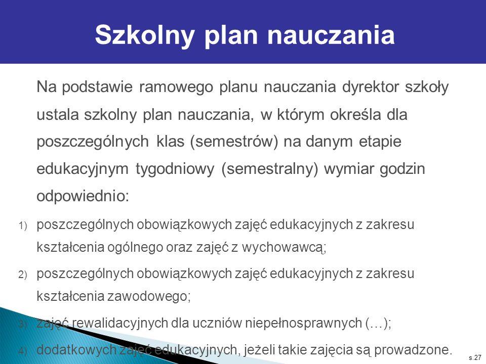 s.27 Na podstawie ramowego planu nauczania dyrektor szkoły ustala szkolny plan nauczania, w którym określa dla poszczególnych klas (semestrów) na dany