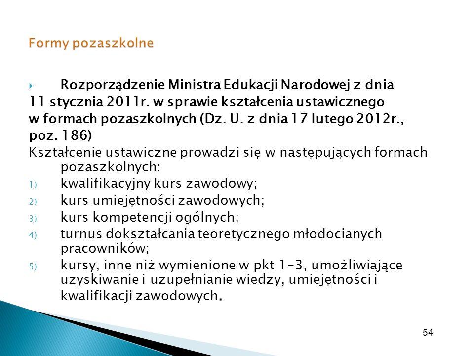 54 Rozporządzenie Ministra Edukacji Narodowej z dnia 11 stycznia 2011r. w sprawie kształcenia ustawicznego w formach pozaszkolnych (Dz. U. z dnia 17 l