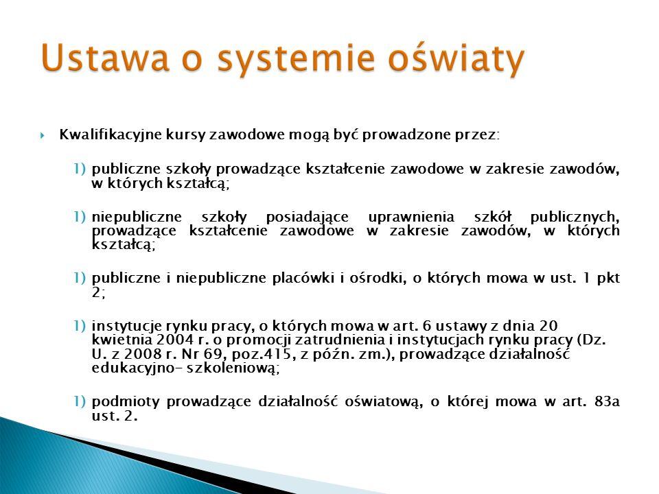 Kwalifikacyjne kursy zawodowe mogą być prowadzone przez: 1)publiczne szkoły prowadzące kształcenie zawodowe w zakresie zawodów, w których kształcą; 1)