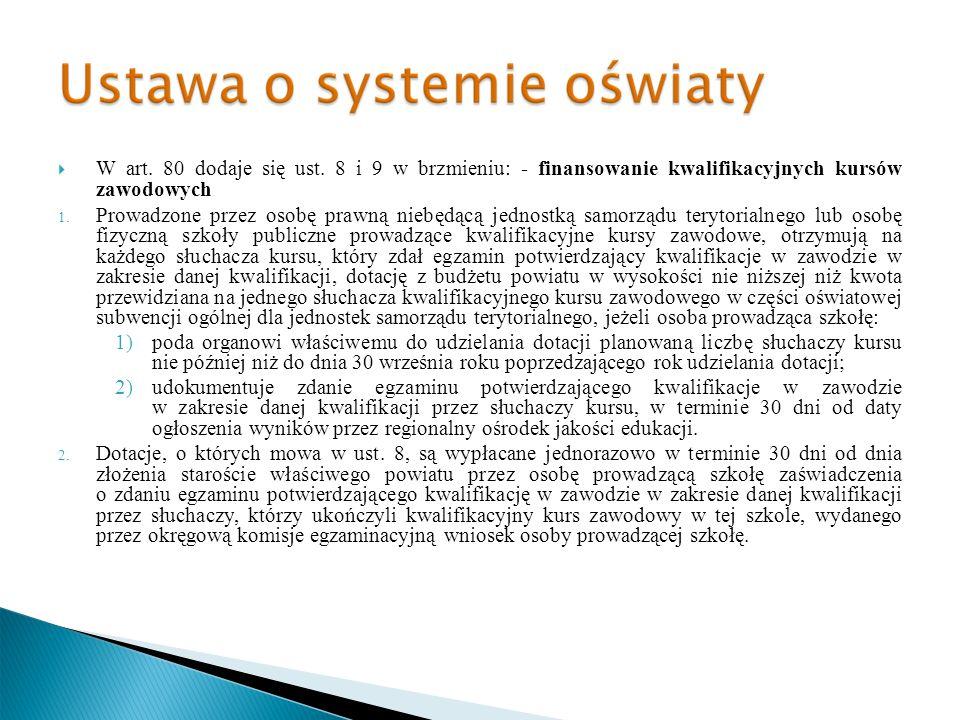W art. 80 dodaje się ust. 8 i 9 w brzmieniu: - finansowanie kwalifikacyjnych kursów zawodowych 1. Prowadzone przez osobę prawną niebędącą jednostką sa