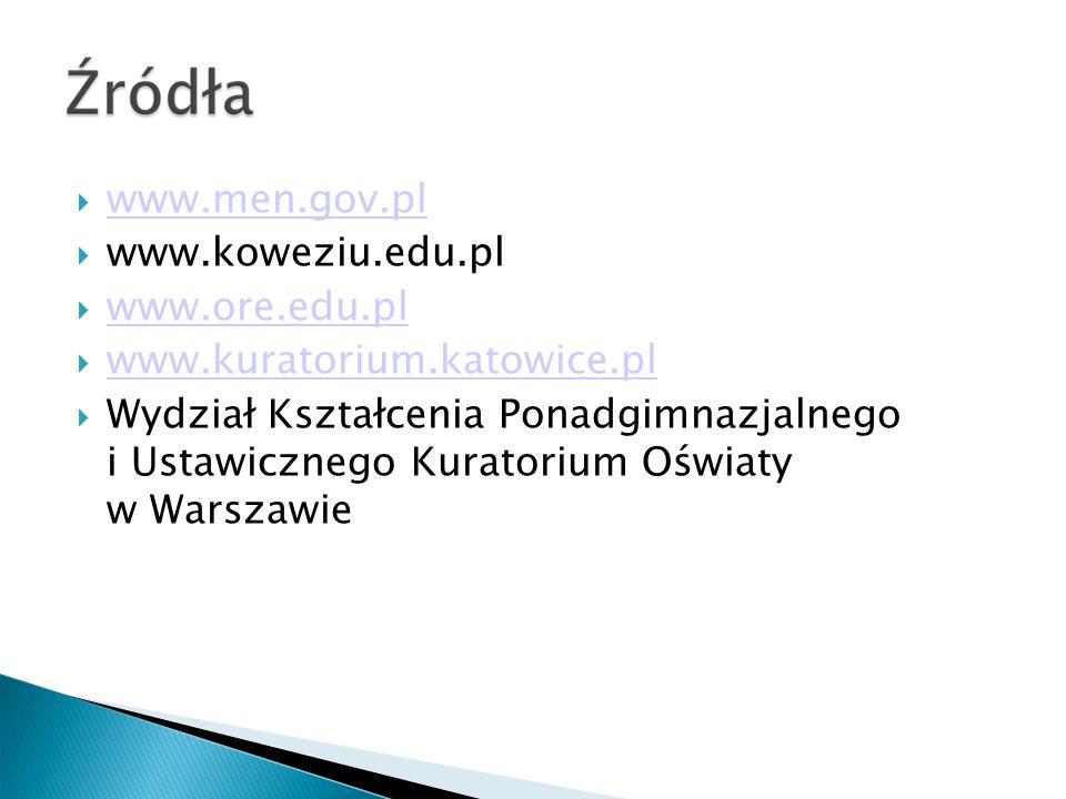 www.men.gov.pl www.koweziu.edu.pl www.ore.edu.pl www.kuratorium.katowice.pl Wydział Kształcenia Ponadgimnazjalnego i Ustawicznego Kuratorium Oświaty w