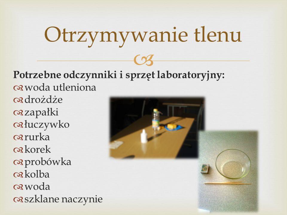 Potrzebne odczynniki i sprzęt laboratoryjny: woda utleniona drożdże zapałki łuczywko rurka korek probówka kolba woda szklane naczynie Otrzymywanie tle