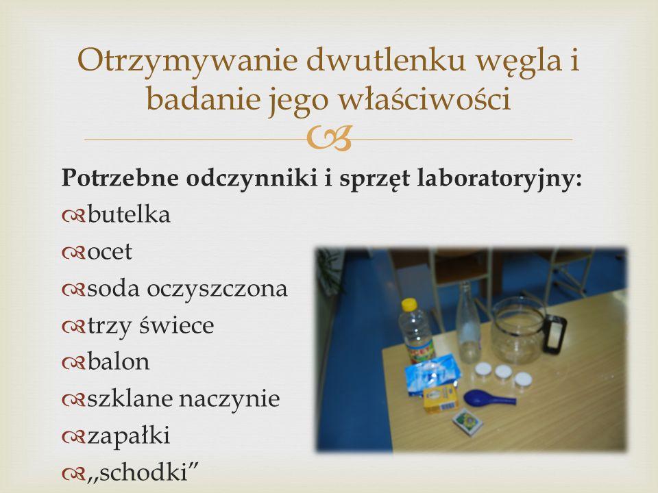 Potrzebne odczynniki i sprzęt laboratoryjny: butelka ocet soda oczyszczona trzy świece balon szklane naczynie zapałki,,schodki Otrzymywanie dwutlenku