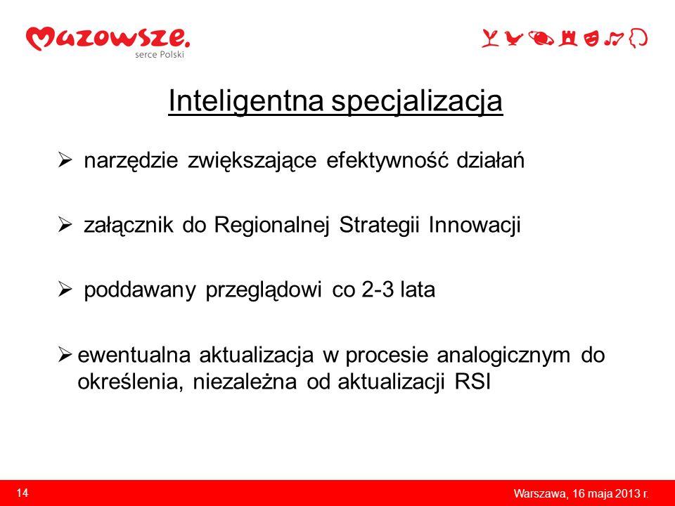 Inteligentna specjalizacja narzędzie zwiększające efektywność działań załącznik do Regionalnej Strategii Innowacji poddawany przeglądowi co 2-3 lata e
