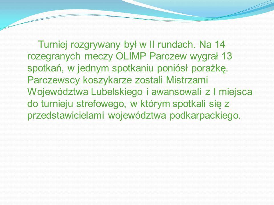 Turniej rozgrywany był w II rundach. Na 14 rozegranych meczy OLIMP Parczew wygrał 13 spotkań, w jednym spotkaniu poniósł porażkę. Parczewscy koszykarz