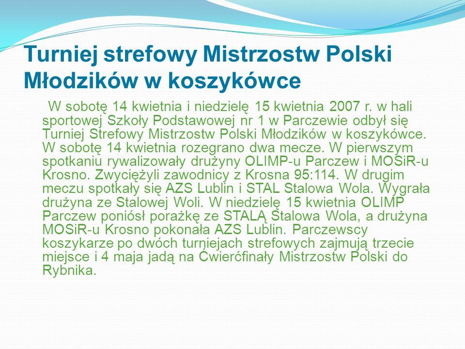 Turniej strefowy Mistrzostw Polski Młodzików w koszykówce W sobotę 14 kwietnia i niedzielę 15 kwietnia 2007 r. w hali sportowej Szkoły Podstawowej nr