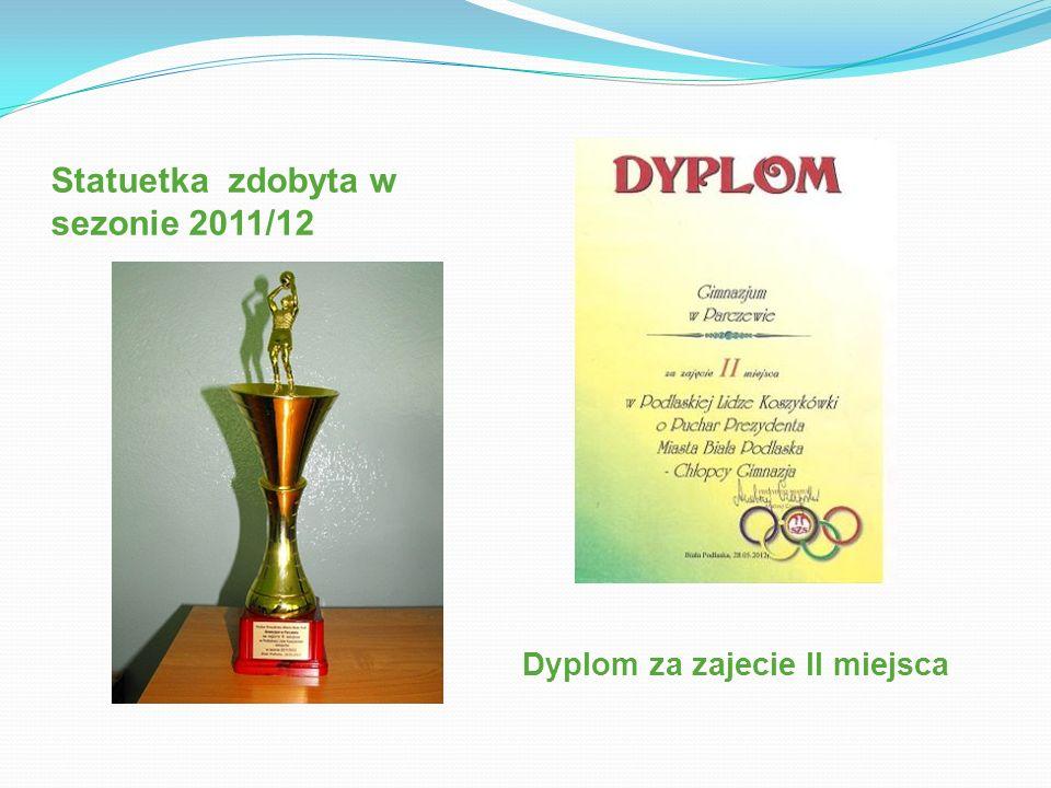 Statuetka zdobyta w sezonie 2011/12 Dyplom za zajecie II miejsca