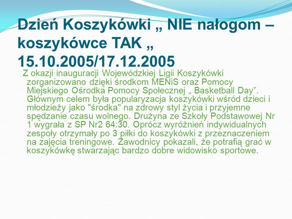 Dzień Koszykówki NIE nałogom – koszykówce TAK 15.10.2005/17.12.2005 Z okazji inauguracji Wojewódzkiej Ligii Koszykówki zorganizowano dzięki środkom ME