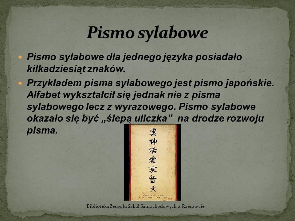 Pismo sylabowe dla jednego języka posiadało kilkadziesiąt znaków. Przykładem pisma sylabowego jest pismo japońskie. Alfabet wykształcił się jednak nie