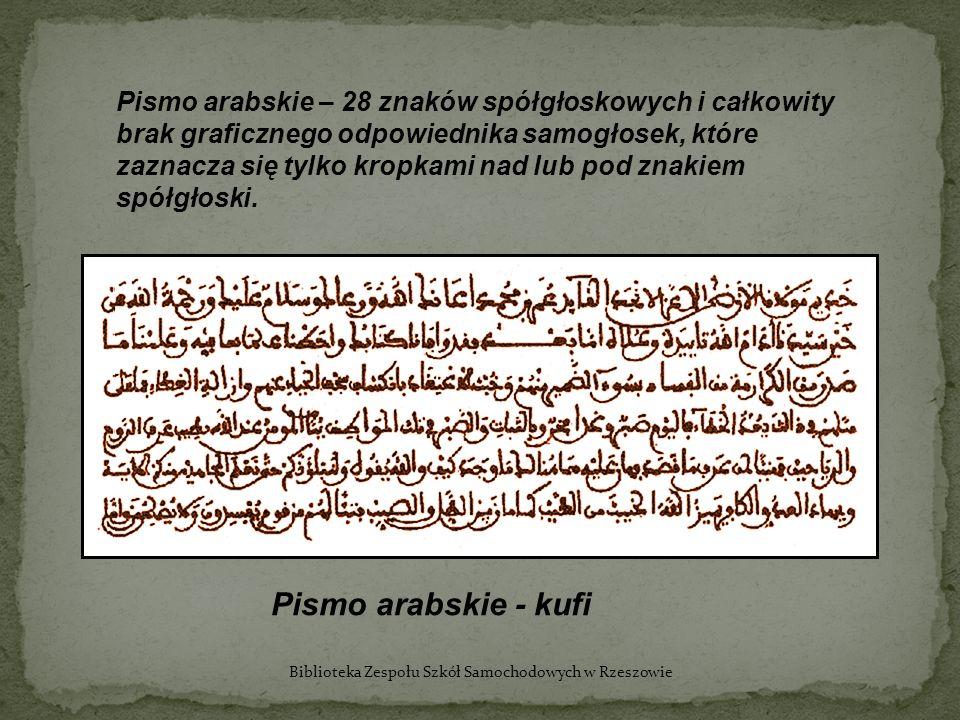 Pismo arabskie – 28 znaków spółgłoskowych i całkowity brak graficznego odpowiednika samogłosek, które zaznacza się tylko kropkami nad lub pod znakiem