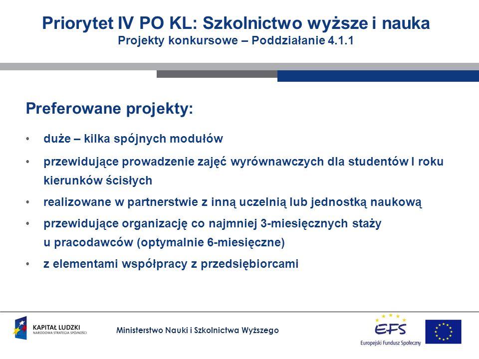 Ministerstwo Nauki i Szkolnictwa Wyższego Priorytet IV PO KL: Szkolnictwo wyższe i nauka Projekty konkursowe – Poddziałanie 4.1.1 Preferowane projekty