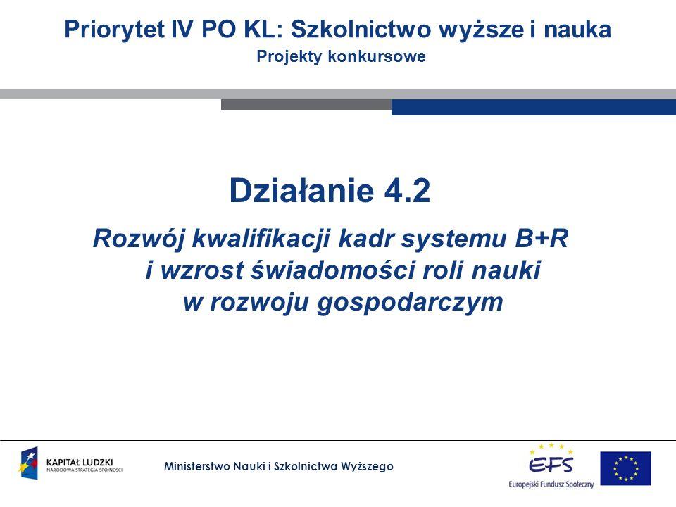 Ministerstwo Nauki i Szkolnictwa Wyższego Priorytet IV PO KL: Szkolnictwo wyższe i nauka Projekty konkursowe Działanie 4.2 Rozwój kwalifikacji kadr systemu B+R i wzrost świadomości roli nauki w rozwoju gospodarczym