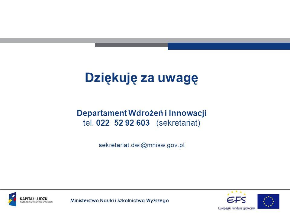Ministerstwo Nauki i Szkolnictwa Wyższego Dziękuję za uwagę Departament Wdrożeń i Innowacji tel. 022 52 92 603 (sekretariat) sekretariat.dwi@mnisw.gov