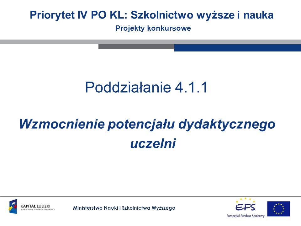 Ministerstwo Nauki i Szkolnictwa Wyższego Priorytet IV PO KL: Szkolnictwo wyższe i nauka Projekty konkursowe Poddziałanie 4.1.1 Wzmocnienie potencjału