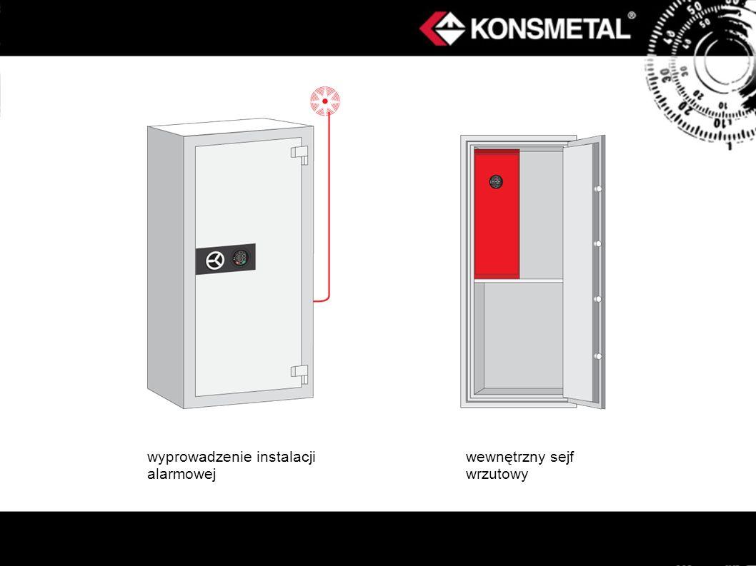 wyprowadzenie instalacji alarmowej wewnętrzny sejf wrzutowy