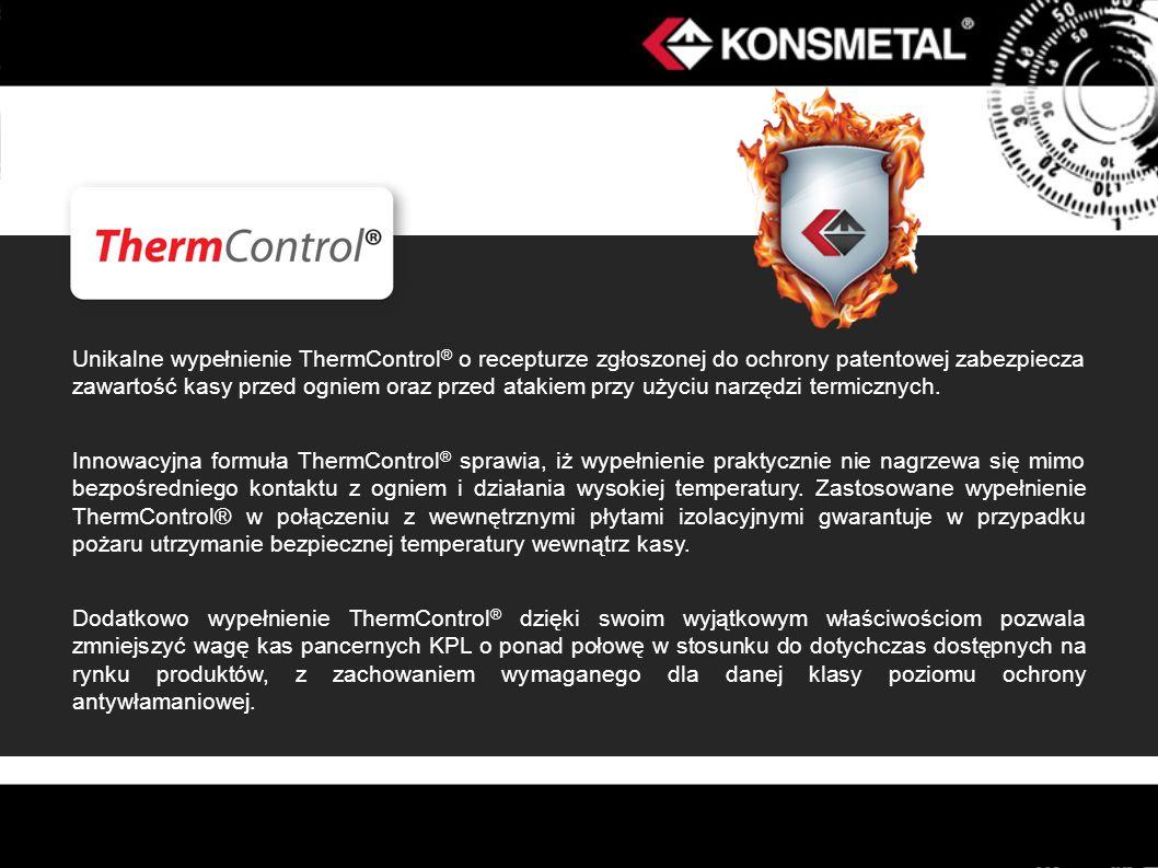 Unikalne wypełnienie ThermControl ® o recepturze zgłoszonej do ochrony patentowej zabezpiecza zawartość kasy przed ogniem oraz przed atakiem przy użyc