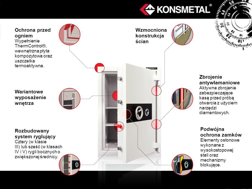 Ochrona przed ogniem Wypełnienie ThermControl®, wewnętrzna płyta kompozytowa oraz uszczelka termoaktywna. Wariantowe wyposażenie wnętrza Rozbudowany s