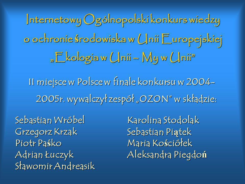 Ogólnopolski Internetowy Konkurs MULTIPYT CD III miejsce w Polsce w finale konkursu w 2001 roku wywalczył zespół OZON