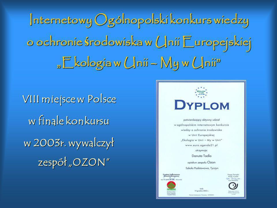 Konkurs INTERKLASY Wielkie szkolne logowisko XI miejsce w Polsce.