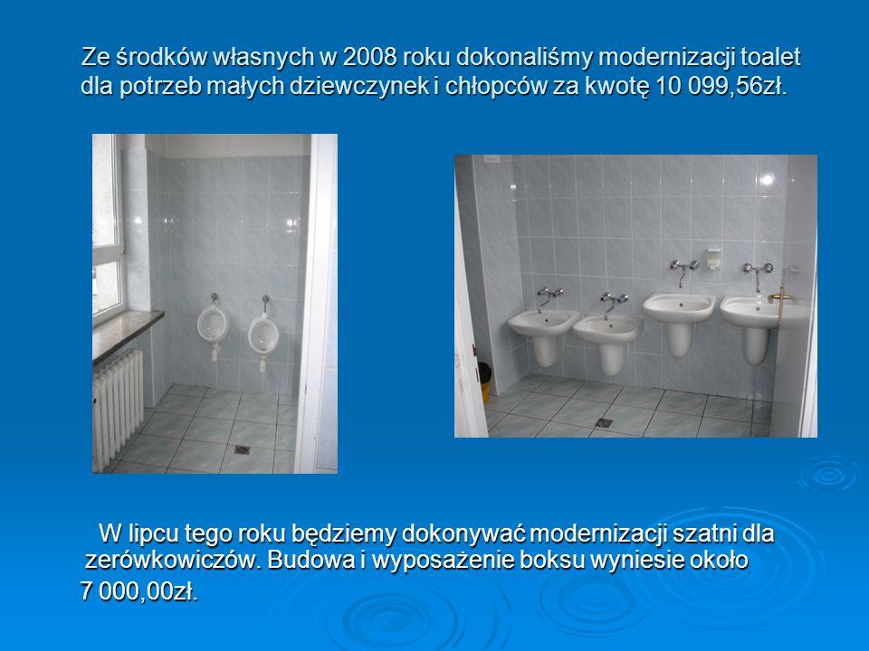 Ze środków własnych w 2008 roku dokonaliśmy modernizacji toalet dla potrzeb małych dziewczynek i chłopców za kwotę 10 099,56zł.