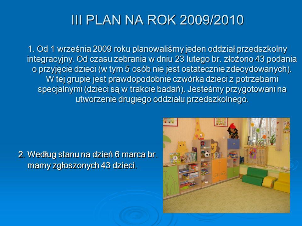 III PLAN NA ROK 2009/2010 1.
