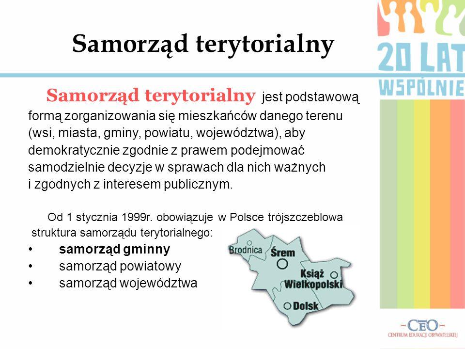 Samorząd terytorialny Samorząd terytorialny jest podstawową formą zorganizowania się mieszkańców danego terenu (wsi, miasta, gminy, powiatu, województ