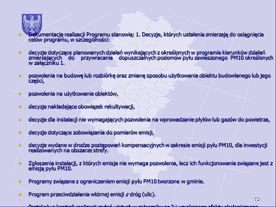 13 Dokumentację realizacji Programu stanowią: 1. Decyzje, których ustalenia zmierzają do osiągnięcia celów programu, w szczególności: Dokumentację rea