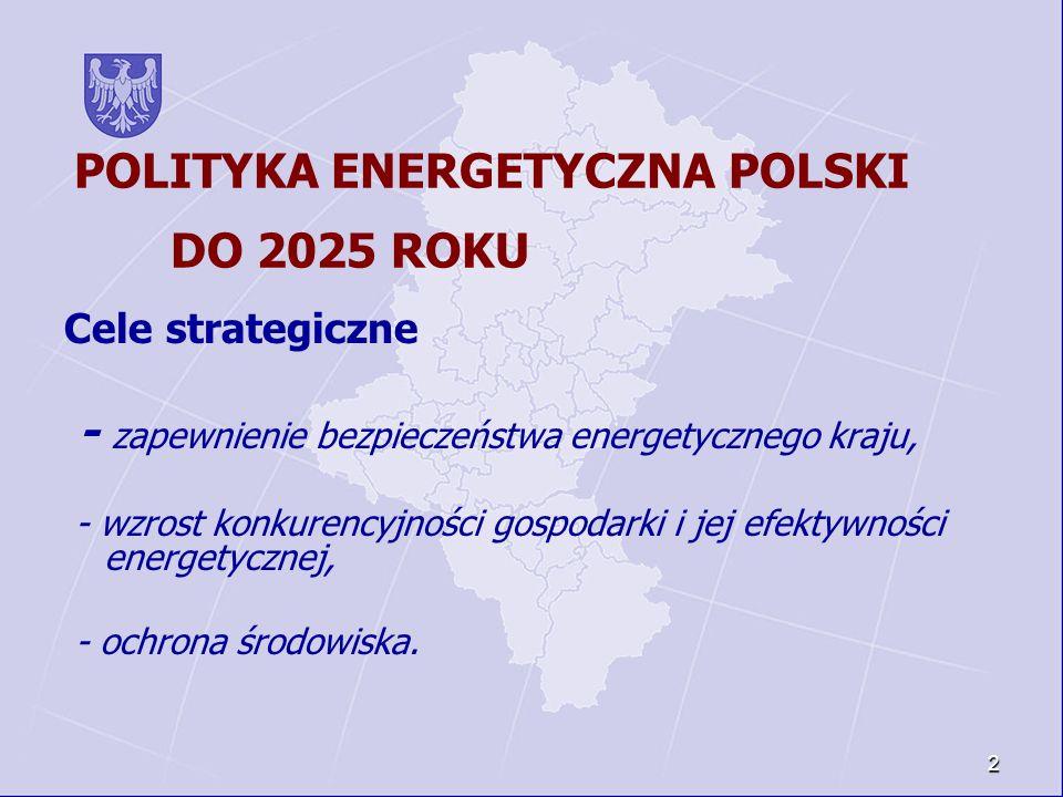 2 POLITYKA ENERGETYCZNA POLSKI DO 2025 ROKU Cele strategiczne - zapewnienie bezpieczeństwa energetycznego kraju, - wzrost konkurencyjności gospodarki