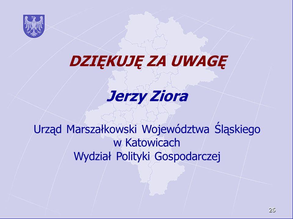 25 DZIĘKUJĘ ZA UWAGĘ Jerzy Ziora Urząd Marszałkowski Województwa Śląskiego w Katowicach Wydział Polityki Gospodarczej