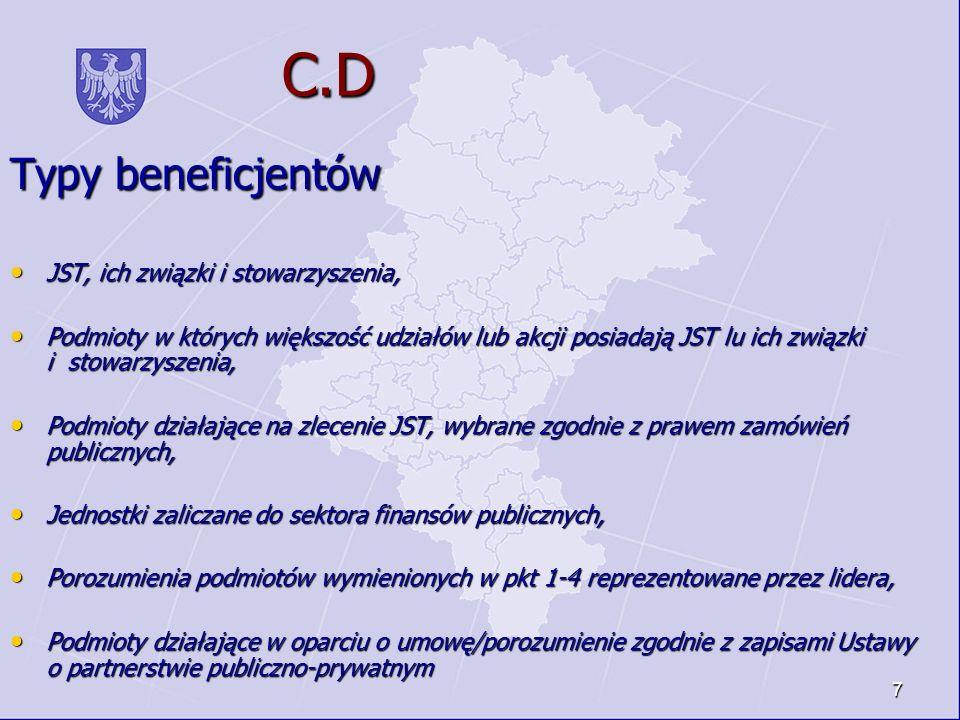 7 C.D C.D Typy beneficjentów JST, ich związki i stowarzyszenia, JST, ich związki i stowarzyszenia, Podmioty w których większość udziałów lub akcji pos