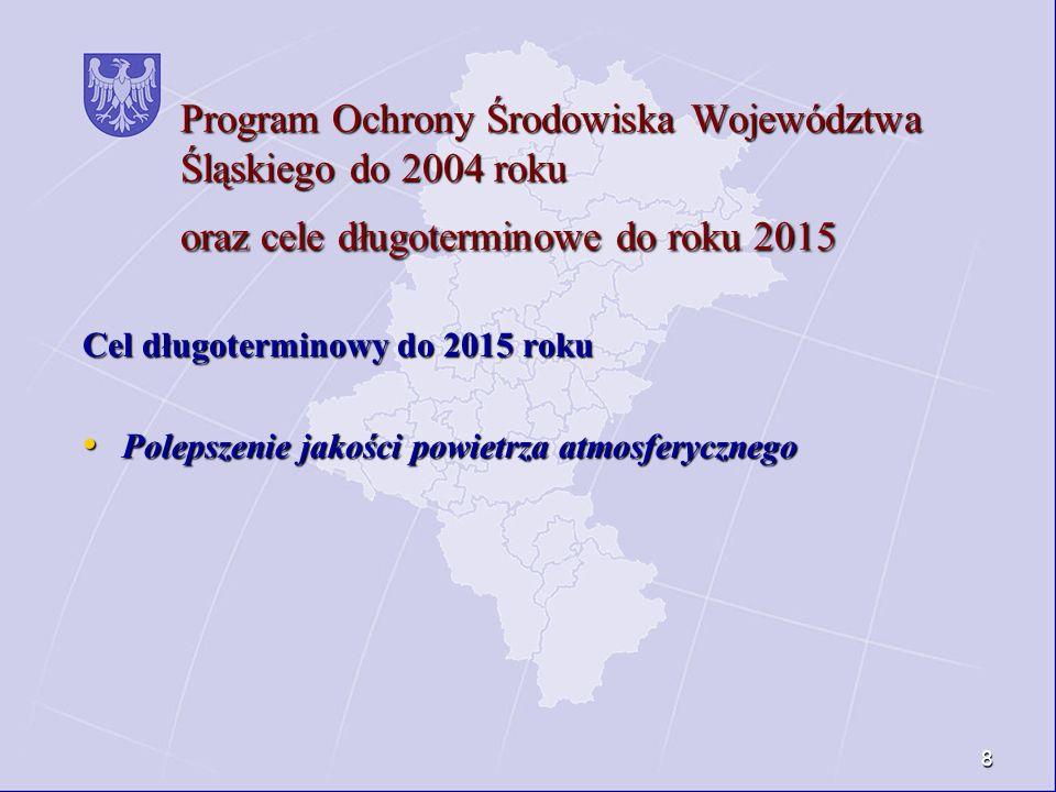 8 Program Ochrony Środowiska Województwa Śląskiego do 2004 roku oraz cele długoterminowe do roku 2015 Cel długoterminowy do 2015 roku Polepszenie jako