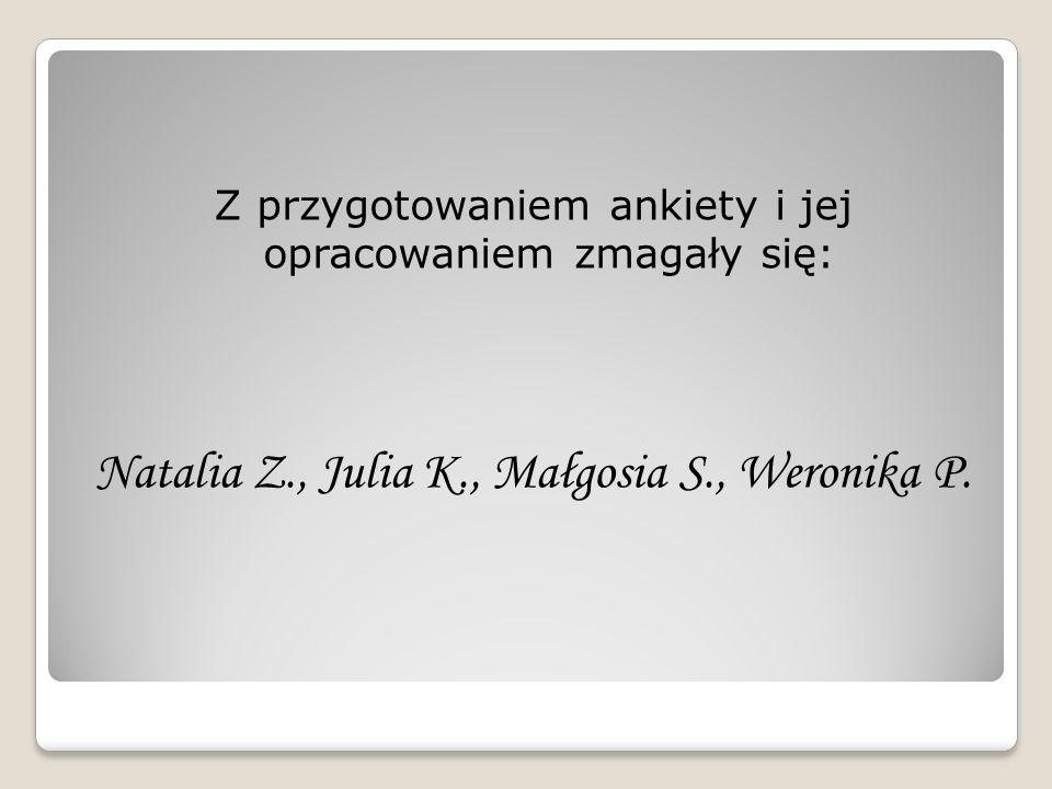 Z przygotowaniem ankiety i jej opracowaniem zmagały się: Natalia Z., Julia K., Małgosia S., Weronika P.