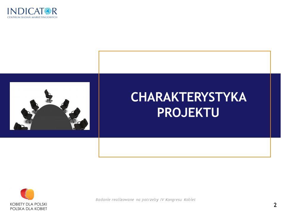 Badanie realizowane na potrzeby IV Kongresu Kobiet CHARAKTERYSTYKA PROJEKTU 2