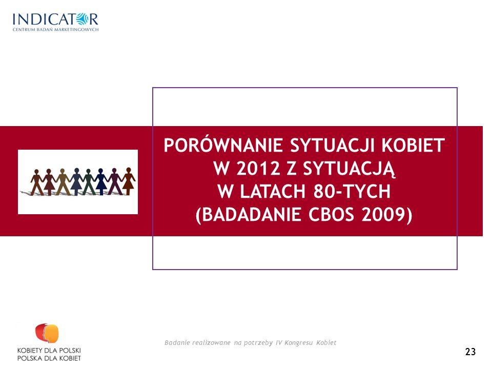 Badanie realizowane na potrzeby IV Kongresu Kobiet PORÓWNANIE SYTUACJI KOBIET W 2012 Z SYTUACJĄ W LATACH 80-TYCH (BADADANIE CBOS 2009) 23
