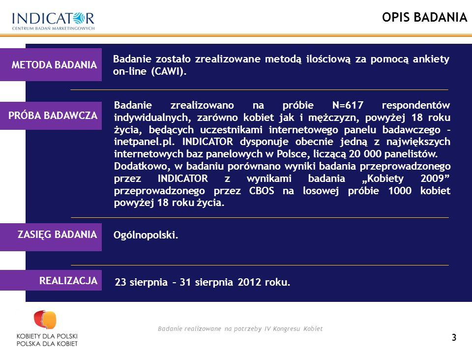 Badanie realizowane na potrzeby IV Kongresu Kobiet 3 OPIS BADANIA Badanie zostało zrealizowane metodą ilościową za pomocą ankiety on-line (CAWI).