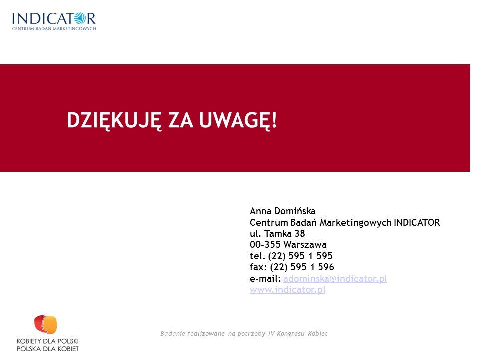 Badanie realizowane na potrzeby IV Kongresu Kobiet Anna Domińska Centrum Badań Marketingowych INDICATOR ul.