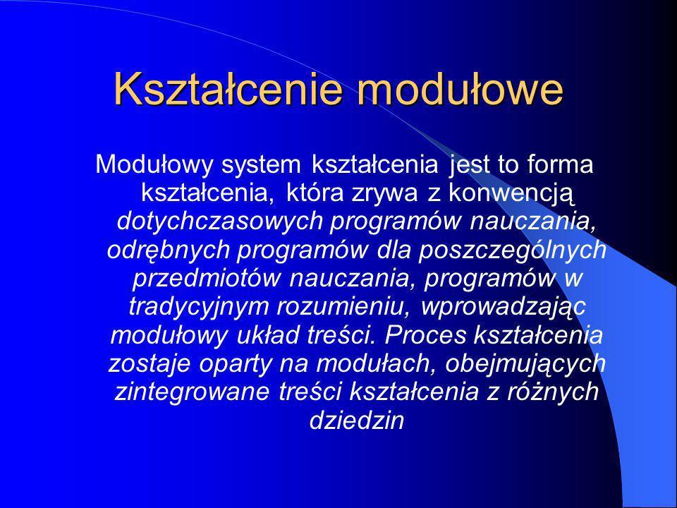 Kształcenie modułowe Modułowy system kształcenia jest to forma kształcenia, która zrywa z konwencją dotychczasowych programów nauczania, odrębnych programów dla poszczególnych przedmiotów nauczania, programów w tradycyjnym rozumieniu, wprowadzając modułowy układ treści.