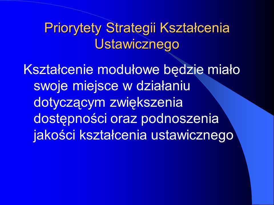 Priorytety Strategii Kształcenia Ustawicznego Kształcenie modułowe będzie miało swoje miejsce w działaniu dotyczącym zwiększenia dostępności oraz podnoszenia jakości kształcenia ustawicznego