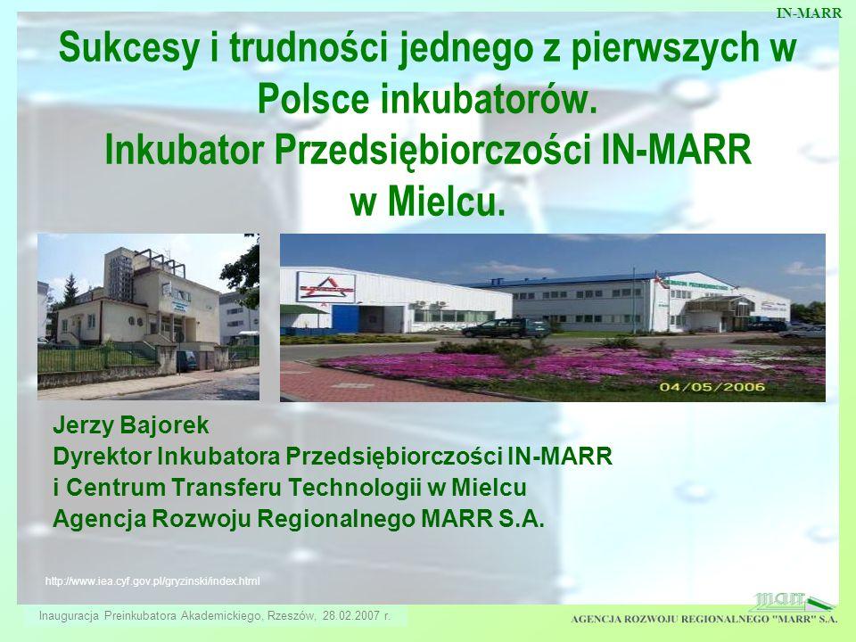 Sukcesy i trudności jednego z pierwszych w Polsce inkubatorów. Inkubator Przedsiębiorczości IN-MARR w Mielcu. IN-MARR Jerzy Bajorek Dyrektor Inkubator