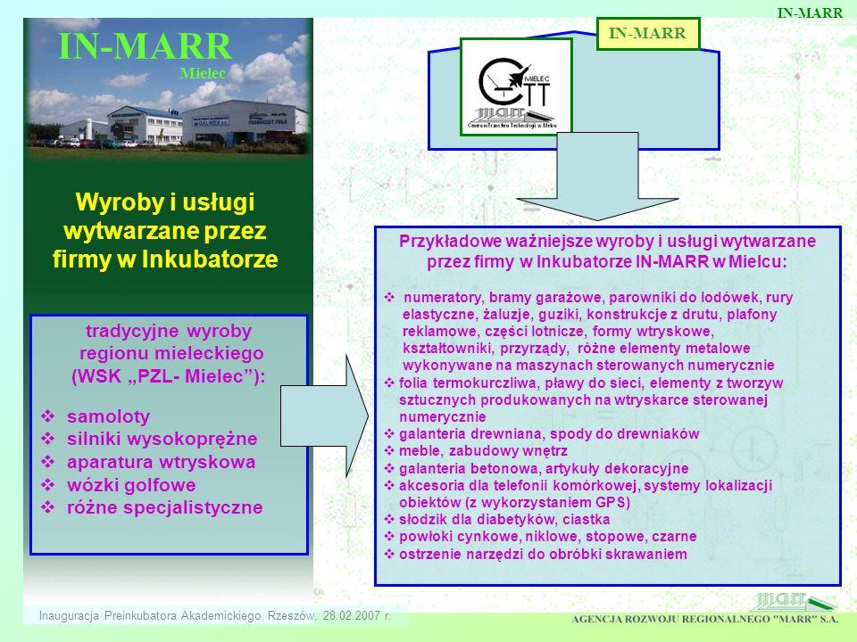 IN-MARR Mielec Wyroby i usługi wytwarzane przez firmy w Inkubatorze IN-MARR Przykładowe ważniejsze wyroby i usługi wytwarzane przez firmy w Inkubatorz