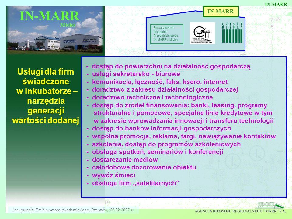 IN-MARR Mielec Usługi dla firm świadczone w Inkubatorze – narzędzia generacji wartości dodanej IN-MARR Stowarzyszenie Inkubator Przedsiębiorczości IN-